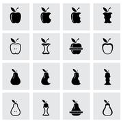 Vector black apple and pear icon set - stock illustration