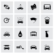 Vector black car wash icon set Stock Illustration