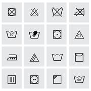 Vector black washing signs icon set - stock illustration