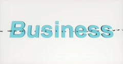 4k businessman walking on the top of 3d business sign. - stock footage