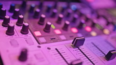 Close-up video of mixing console Stock Footage