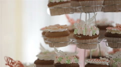 Candy bar with cookies and colorful candy on plate for  wedding Stock Footage