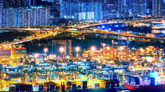 Commercial container port of Hong Kong at night. 4K Industrial motion background Stock Footage