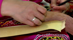 Folk Art - Crafts Made of Birch Bark Stock Footage