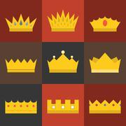 Vector crown, flat design set 1 - stock illustration