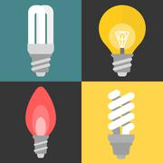 Vector set of light bulb and fluorescent, flat design Stock Illustration