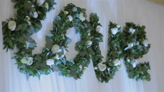Wedding decorations.decorations of word love with flowers Stock Footage