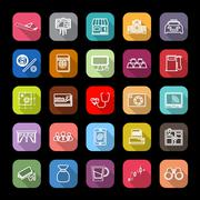 Application line icons with long shadow - stock illustration