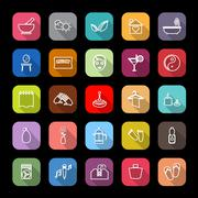 Massage line icons with long shadow Stock Illustration