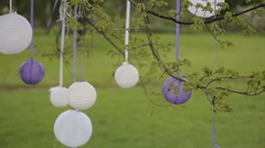 Wedding decorations.white Chinese lanterns in the trees Stock Footage