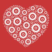 Heart shape mosaic of cog wheels Stock Illustration