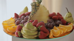 Decorative Fruit Sliced on the Buffet Table at a Wedding Stock Footage