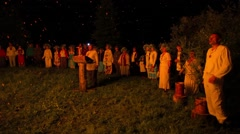 Pagans around the campfire Stock Footage