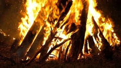 View of Burning logs Stock Footage