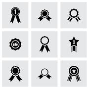 Vector black award medal icon set Stock Illustration