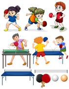 Many people playing table tennis Stock Illustration