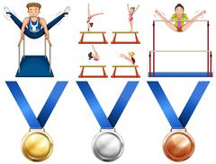 Gymnastics athletes and sport medals Stock Illustration