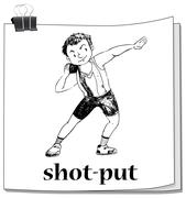 Shot put sport on paper Stock Illustration