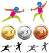 Fencing icon and sport medals Stock Illustration