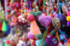 Blurry image of colorful handmade souvenir key chain Stock Photos