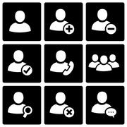 Vector black people icon set - stock illustration