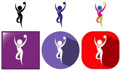Gymnastics with ball icon in many designs Stock Illustration