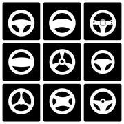 Vector black steering wheels icon set Stock Illustration