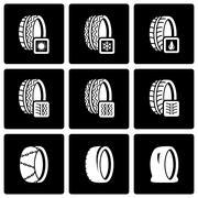 Vector black tire icon set - stock illustration