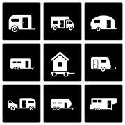 Vector black trailer icon set Piirros