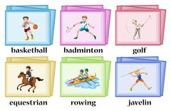 Wordcards for many sports Stock Illustration
