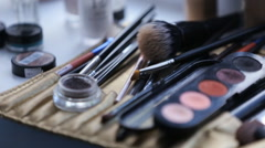 Palette eye shadow makeup close- up Stock Footage