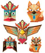 Totem pole design with animals Stock Illustration