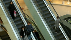 escalator in a large shopping - stock footage