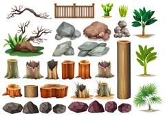 Gardening set of rocks and branches Stock Illustration
