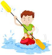 Man kayaking on the river Piirros