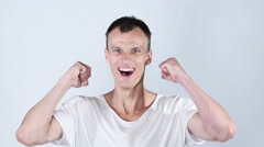 Happy excited young man  celebrating success , joy , excitement Stock Footage