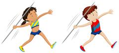 Man and woman athletes for javelin Stock Illustration
