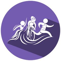 Triathlon icon on round logo Stock Illustration