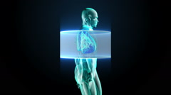 Scanning body. Rotating Human lungs, Pulmonary Diagnostics, Blue X-ray light. Stock Footage