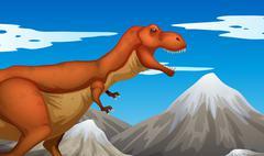 Wild dinosaur walking on the ground Stock Illustration