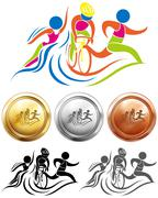Triathlon icon and sport medals Stock Illustration