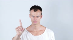 """Portrait young bald man making """"NO"""" gesture. emotions Stock Footage"""