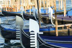 Beautiful gondolas in the canals ov Venice Stock Photos