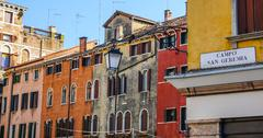 Beautiful colorful buildings in the city center of Verona Italy - Italian sty - stock photo
