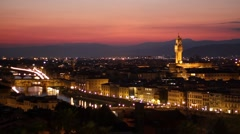 Night view of Florence from Piazzale Michelangelo, Tuscany Italy Stock Footage