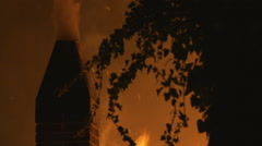 Smoke billows out chimney surrounded by flames Stock Footage