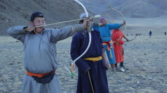 MONGOLIAN KAZAKH ARCHERY BOW ARROW Stock Footage