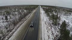 Car on the Asphalt Road Stock Footage