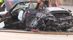 Spectacular car crash and accident scene in downtown Toronto - stock footage