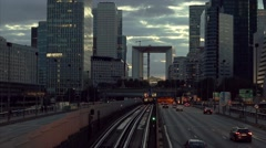 Skyscrapers with glass facade and Grande arch. Modern buildings in Paris Stock Footage